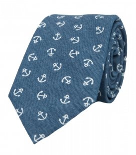 Blue necktie with anchors