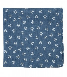 Blue anchors pocket square