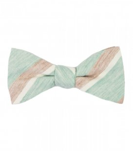 Mint beige stripes bow tie