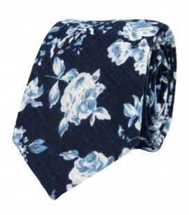 Tmavomodrá kravata s bílými růžemi