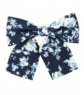 Navy blue floral ladies bow tie