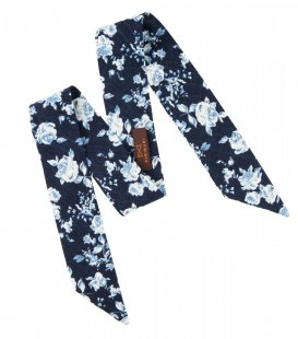 Navy blue floral ladies bow
