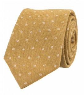 Horčicová kravata s bodkami