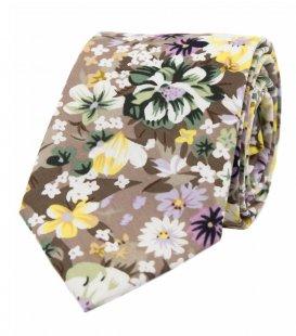 Béžová kravata s květy