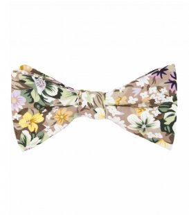 Beige floral bow tie