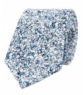 Biela kravata s modrými kvietkami