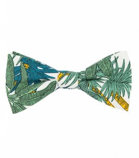 White green palms bow tie