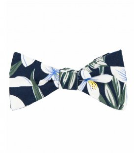 Navy tropical flower bow tie