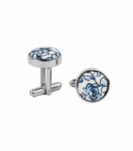 White blue floral cufflinks