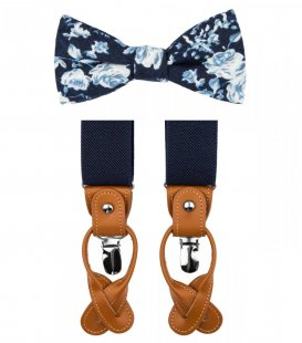 Blue and white bow tie suspenders set