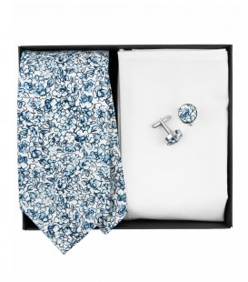 White blue floral nectie set