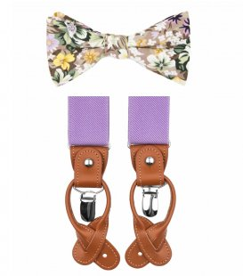 Beige and lilac bow tie suspenders set
