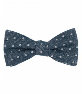 Blue white dots bow tie