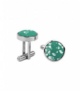 Zelené manžetové gombíky s kvietkami