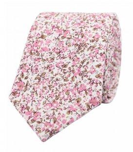 Biela kravata s ružovými kvietkami