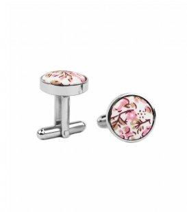 Bílé manžetové knoflíčky s růžovými kytičkami