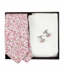 Kravatová sada s ružovými kvietkami