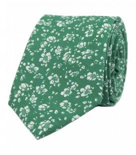 Zelená kravata s kytičkami