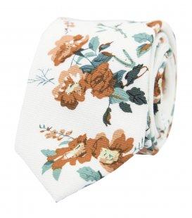 Biela kravata s hnedými kvetmi