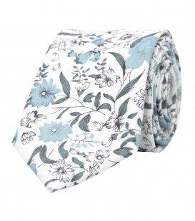 Biela kravata so sivomodrými kvetmi