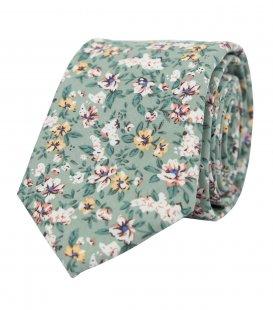 Zelená kravata Sage Green s kytičkami