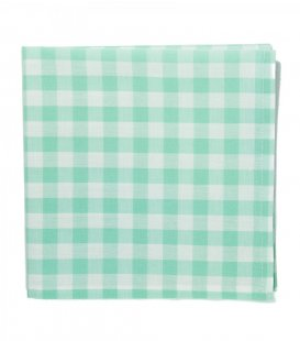 Mint gingham pocket square