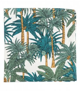 White green palms pocket square