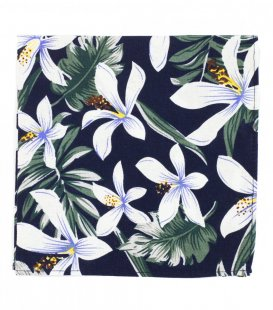 Navy tropical flower pocket square