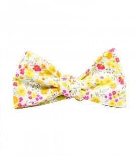 White yellow floral self-tie bow tie
