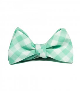 Mint gingham self-tie bow tie