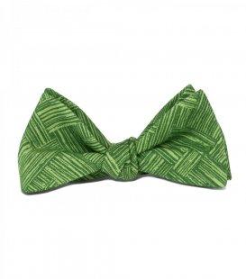 Zelený vázací motýlek se vzorem