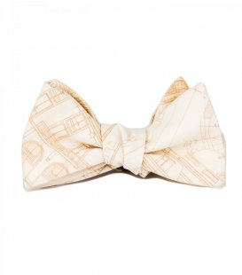Beige blueprints self-tie bow tie