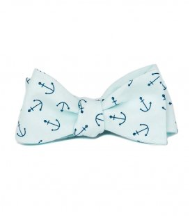 Blue anchors self-tie bow tie