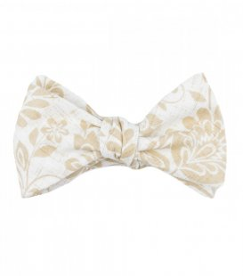 White beige ornament self-tie bow tie