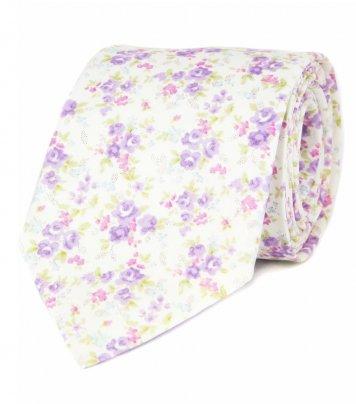 White lilac floral necktie