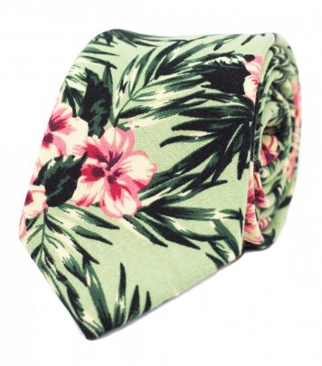 Green tropical hibiscus tie