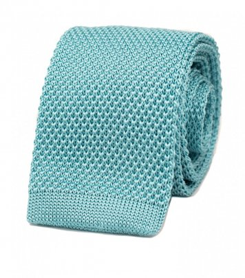 Turquoise silk knitted tie