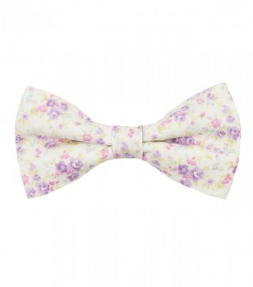 White lilac floral pre-tied bow tie