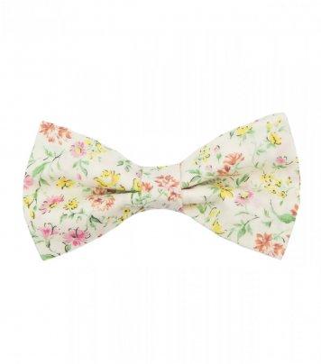 Cream pink floral pre-tied bow tie