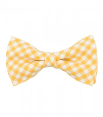Yellow white checked pre-tied bow tie