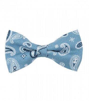 Blue paisley pre-tied bow tie