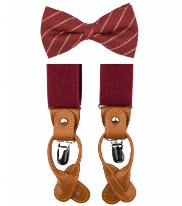 Burgundy bow tie suspenders set