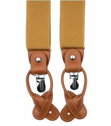 Mustard button and clip suspenders for men