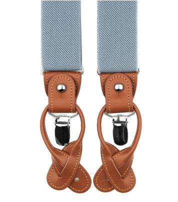 Blue grey button and clip suspenders for men