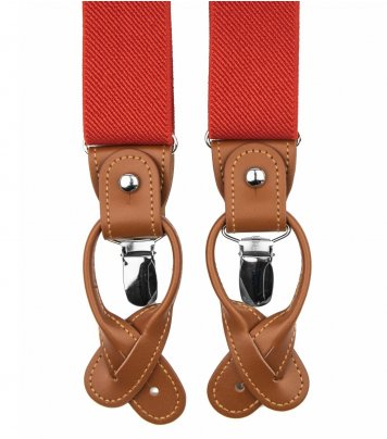 Red-orange button and clip suspenders for men
