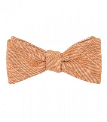 Orange herringbone bow tie