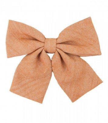 Orange herringbone ladies bow tie