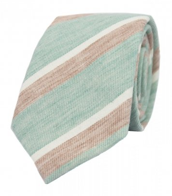 Mint beige stripes necktie