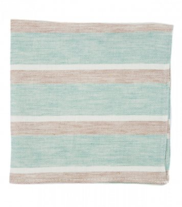 Mint beige stripes pocket square