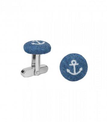 Blue anchor cufflinks